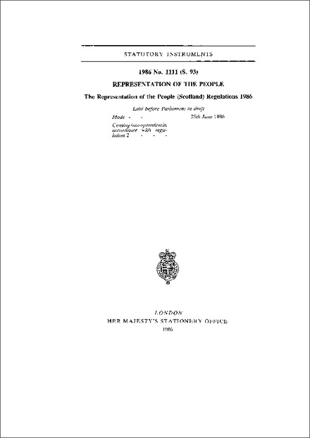 The Representation of the People (Scotland) Regulations 1986