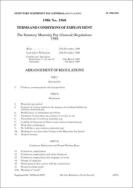 The Statutory Maternity Pay (General) Regulations 1986