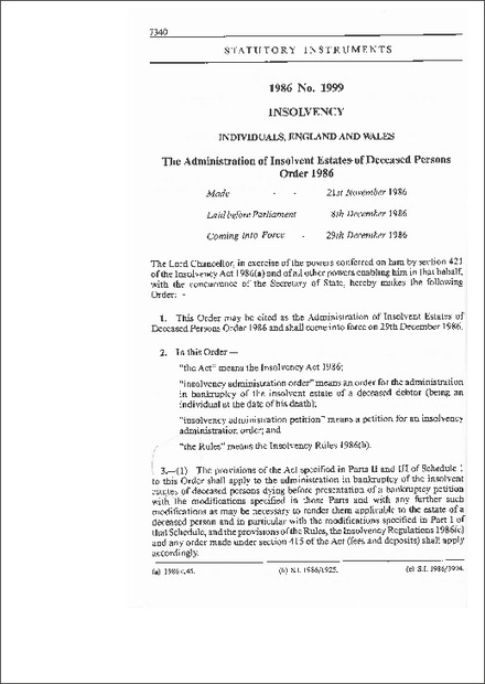 The Administration of Insolvent Estates of Deceased Persons Order 1986