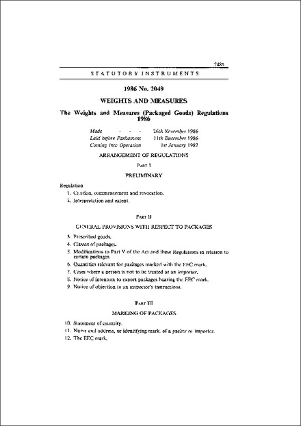 The Weights and Measures (Packaged  Goods) Regulations 1986