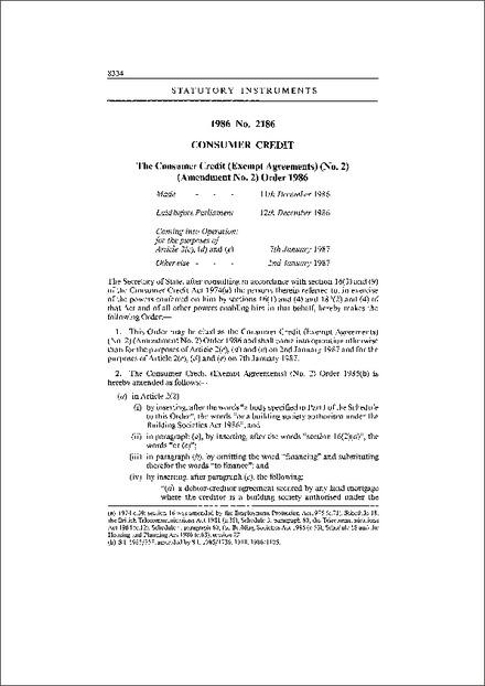 The Consumer Credit Exempt Agreements No2 Amendment No2