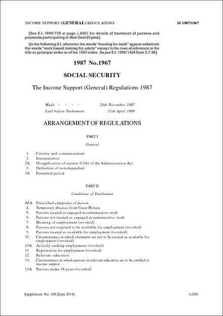 The Income Support (General) Regulations 1987