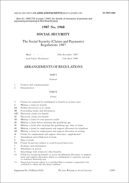 The Social Security (Claims and Payments) Regulations 1987