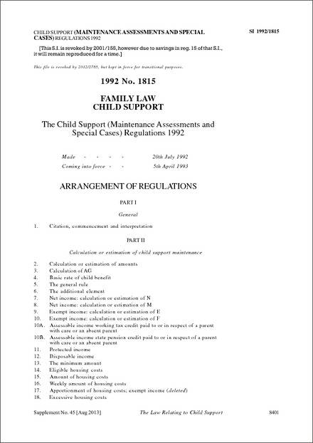 The Child Support (Maintenance Assessments and Special Cases) Regulations 1992