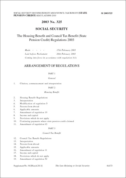 The Housing Benefit and Council Tax Benefit (State Pension Credit) Regulations 2003