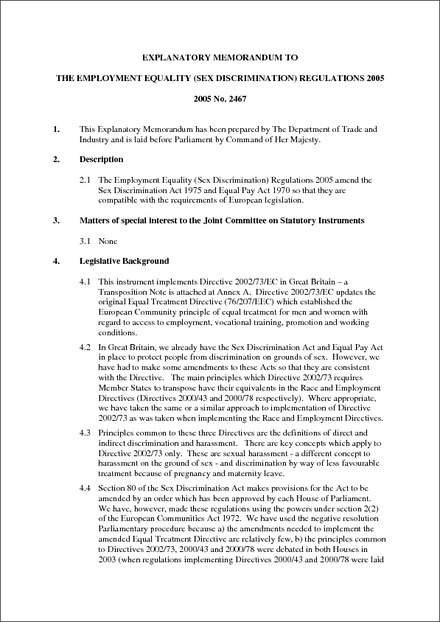 Employment equality sex discrimination regulations 2005