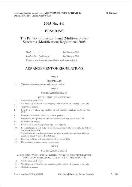 The Pension Protection Fund (Multi-employer Schemes) (Modification) Regulations 2005