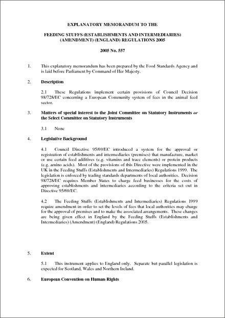 The Feeding Stuffs (Establishments and Intermediaries) (Amendment