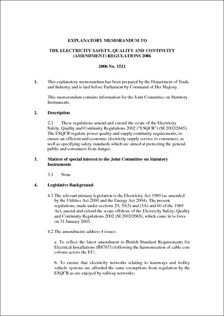 Explanatory Memorandum To The Electricity Safety Quality