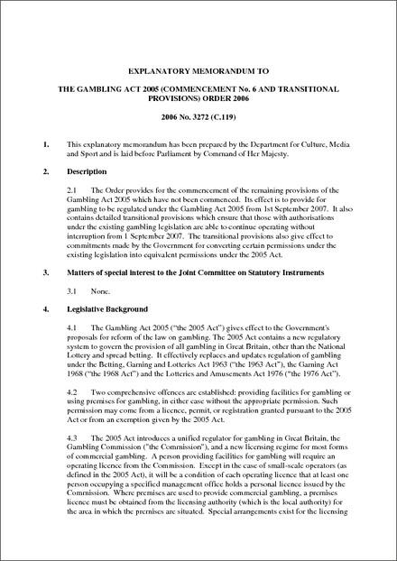 Gambling act 2005 transitional arrangements bonus casino click2pay free online