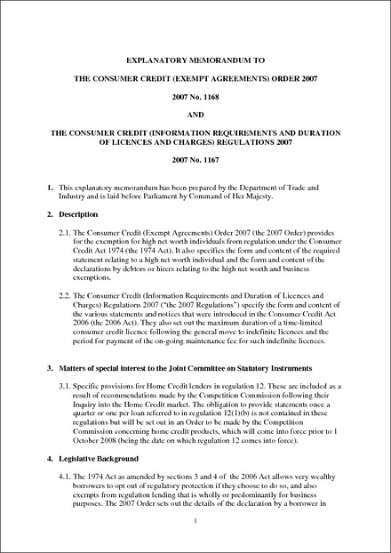 The Consumer Credit Exempt Agreements Order 2007 Explanatory