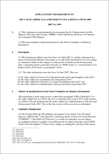 The Value Added Tax (Amendment) (No 4) Regulations 2007