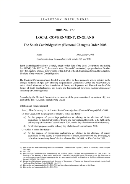 The South Cambridgeshire (Electoral Changes) Order 2008