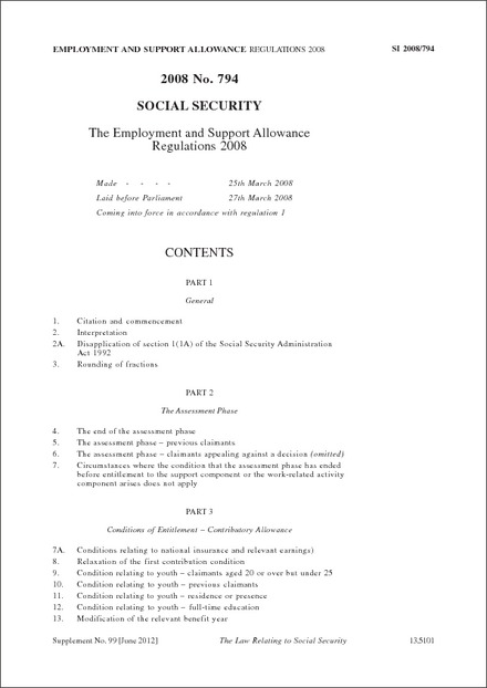 2008 No 794 Social Security The Employment And Support Allowance