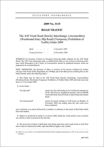 SI 2009/3115 - The A50 Trunk Road (Sawley Interchange