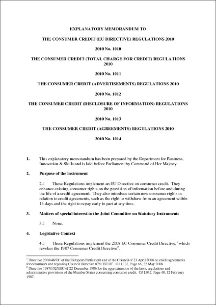 The Consumer Credit Agreements Regulations 2010 Explanatory