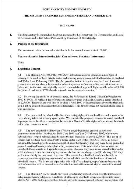 Explanatory Memorandum To The Assured Tenancies Amendment England