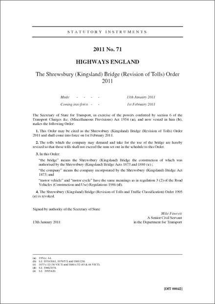 The Shrewsbury (Kingsland) Bridge (Revision of Tolls) Order 2011