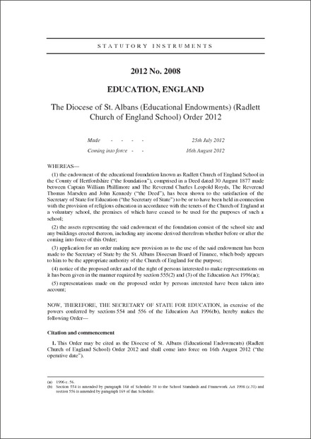 The Diocese of St. Albans (Educational Endowments) (Radlett Church of England School) Order 2012