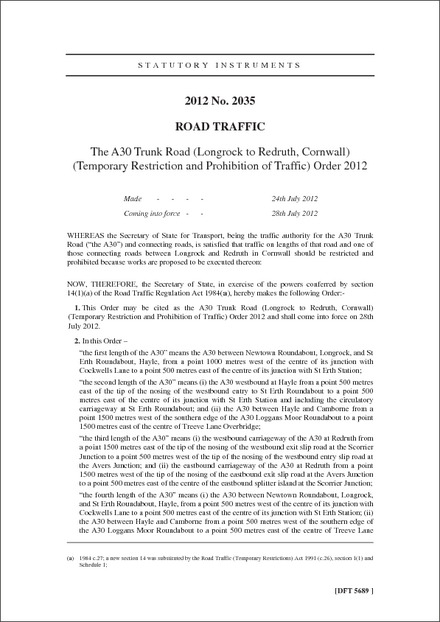 The A30 Trunk Road (Longrock to Redruth, Cornwall) (Temporary Restriction and Prohibition of Traffic) Order 2012