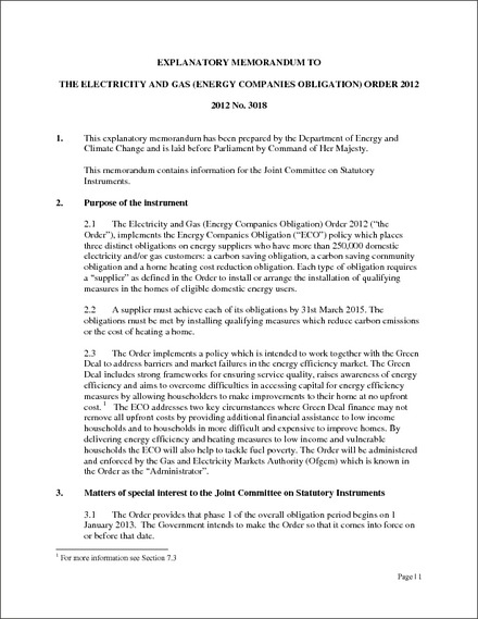 The Electricity and Gas (Energy Companies Obligation) Order