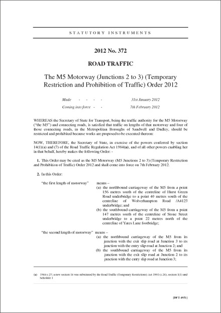 The M5 Motorway (Junctions 2 to 3) (Temporary Restriction and Prohibition of Traffic) Order 2012