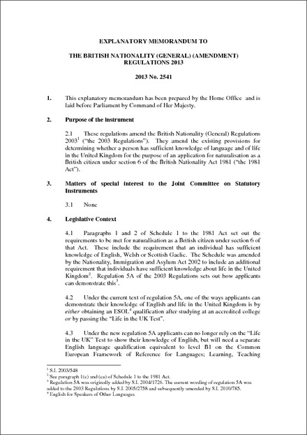The British Nationality (General) (Amendment) Regulations 2013