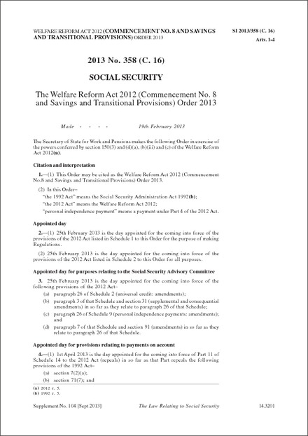The Welfare Reform Act 2012 (Commencement No. 8 and Savings and Transitional Provisions) Order 2013