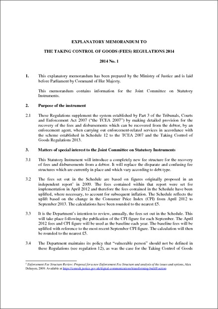 Cost Of Umrah Visa Fees 2019 2020: The Taking Control Of Goods (Fees) Regulations 2014