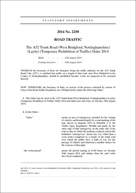 The A52 Trunk Road (West Bridgford, Nottinghamshire) (Layby