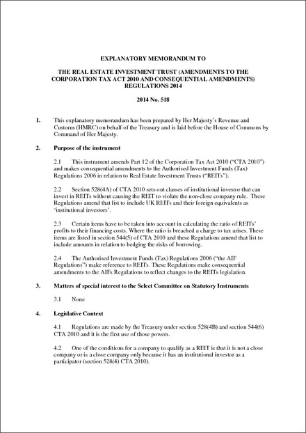 The Real Estate Investment Trust (Amendments to the Corporation Tax