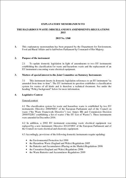 The Hazardous Waste (Miscellaneous Amendments) Regulations