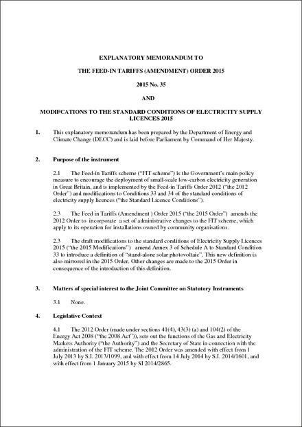 The Feed-in Tariffs (Amendment) Order 2015 - Explanatory Memorandum