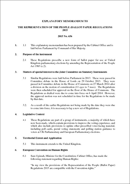 The Representation Of The People Ballot Paper Regulations 2015