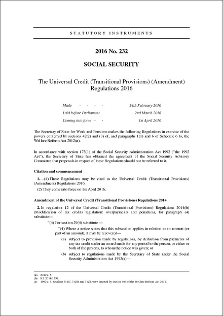 The Universal Credit (Transitional Provisions) (Amendment) Regulations 2016