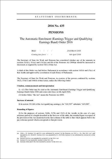 The Automatic Enrolment (Earnings Trigger and Qualifying Earnings Band) Order 2016