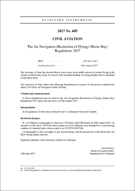The Air Navigation (Restriction of Flying) (Herne Bay) Regulations 2017