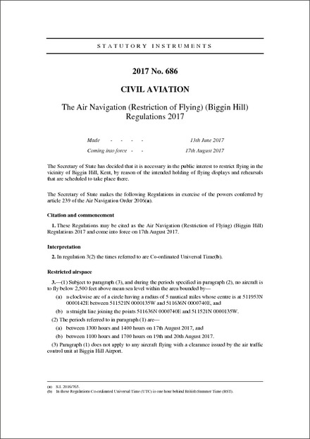 The Air Navigation (Restriction of Flying) (Biggin Hill) Regulations 2017