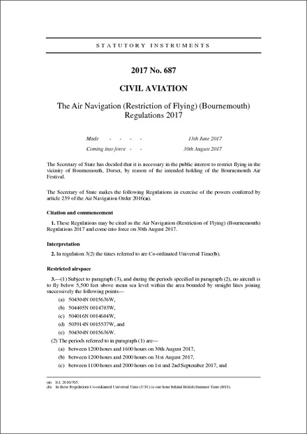The Air Navigation (Restriction of Flying) (Bournemouth) Regulations 2017