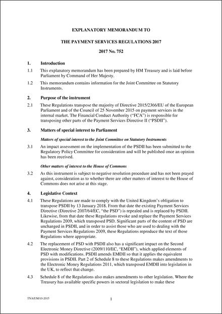 The Payment Services Regulations   Explanatory Memorandum