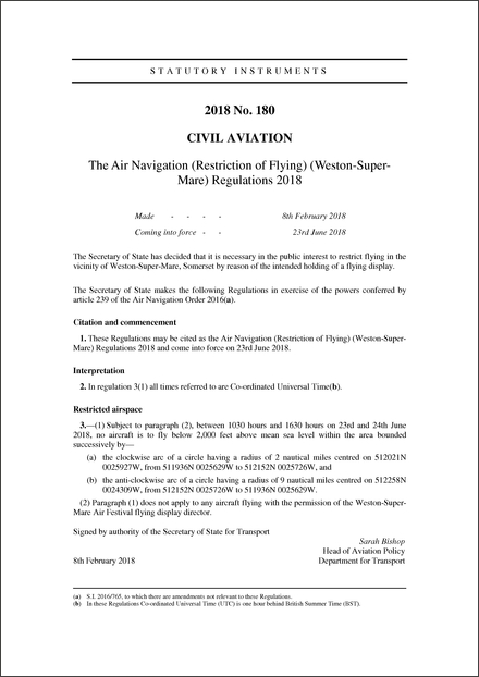 The Air Navigation (Restriction of Flying) (Weston-Super-Mare) Regulations 2018