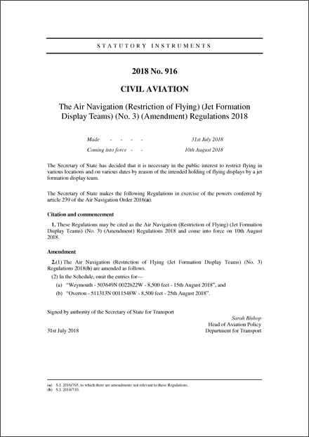 The Air Navigation (Restriction of Flying) (Jet Formation Display Teams) (No. 3) (Amendment) Regulations 2018