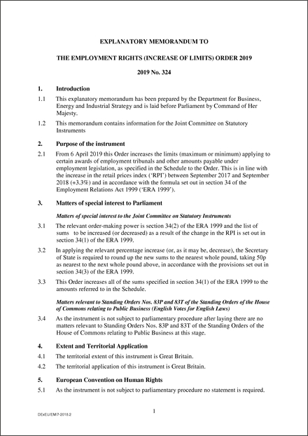 The Employment Rights (Increase of Limits) Order 2019