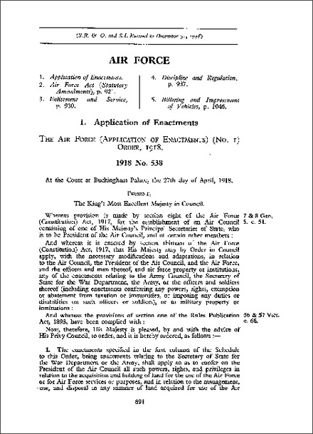 Air Force (Application of Enactments) (No 1) Order 1918