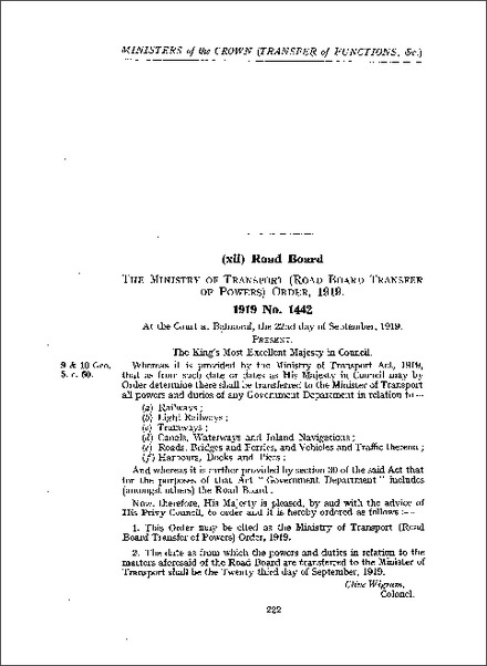 Ministry of Transport (Road Board Transfer of Powers) Order 1919