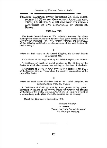 Treasury Warrant under s 11(2) of the Government Annuities Act 1929, specifying the persons authorised to give Certificates of Death or Burial (1930)