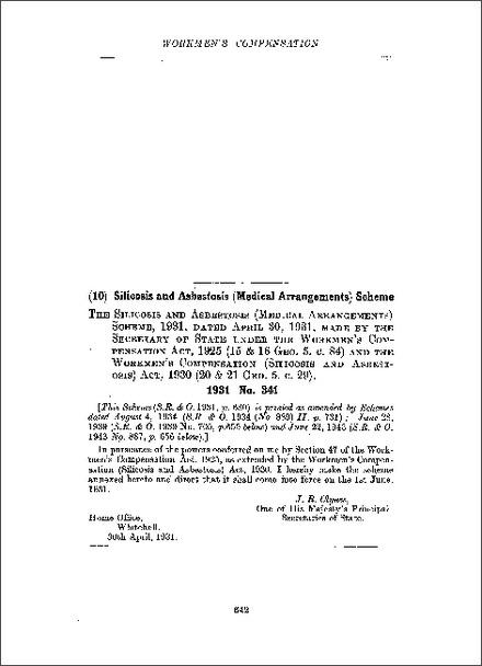 Silicosis and Asbestosis (Medical Arrangements) Scheme 1931