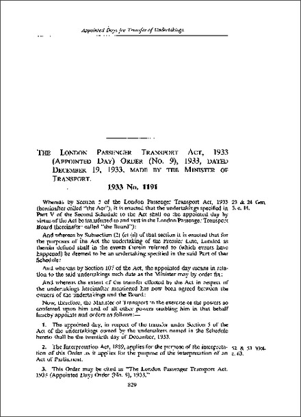 London Passenger Transport Act 1933 (Appointed Day) Order (No 9) 1933