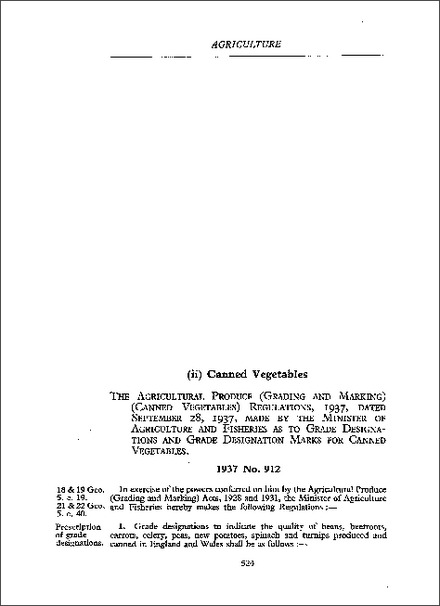 Agricultural Produce (Grading and Marking) (Canned Vegetables) Regulations 1937