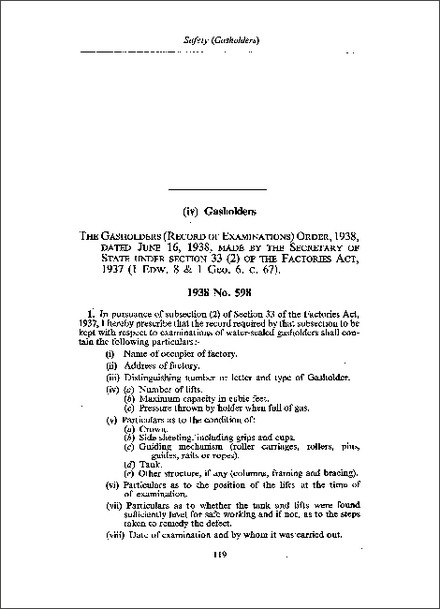 Gasholders (Record of Examinations) Order 1938
